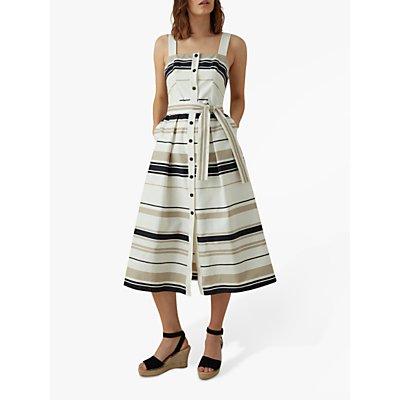 Karen Millen Stripe Day Dress, Black/White
