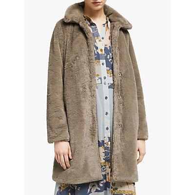 Numph Etaina Faux Fur Jacket, Seal Brown