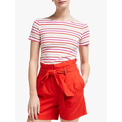 Boden Short Sleeve Breton Stripe Top, Pink