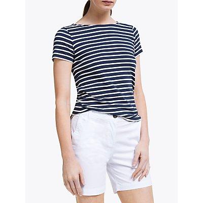 Boden Short Sleeve Breton Stripe Top, Navy