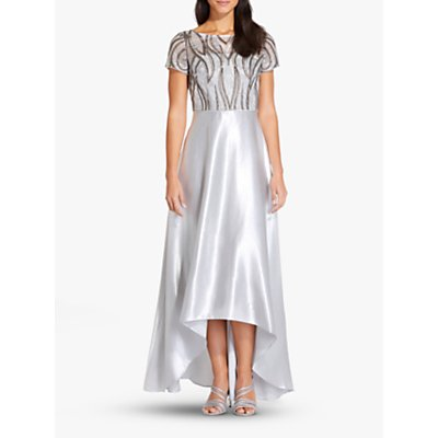 Adrianna Papell Embroidery Satin Dress, Silver/Gold