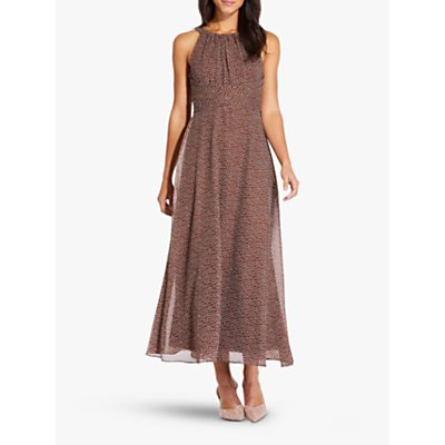 Adrianna Papell Darling Dot Midi Dress, Brown/Ivory