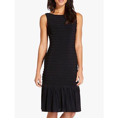 Adrianna Papell Flounce Hem Pintucked Dress, Black