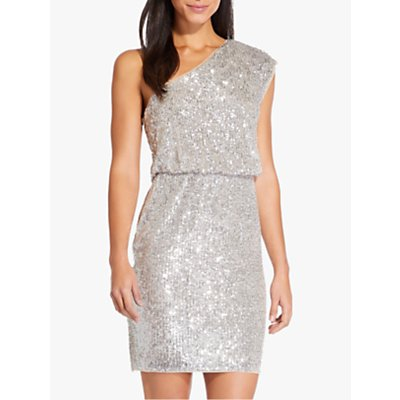 Adrianna Papell One Shoulder Sequin Dress, Silver