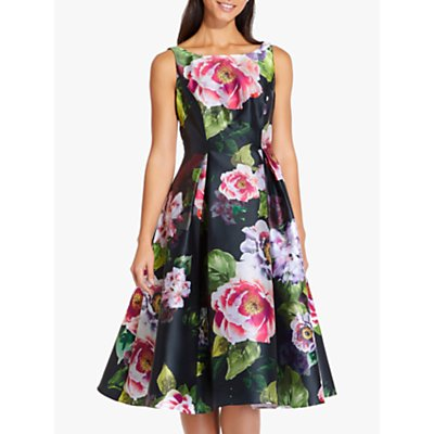 Adrianna Papell Floral Print Mikado Dress, Black/Multi