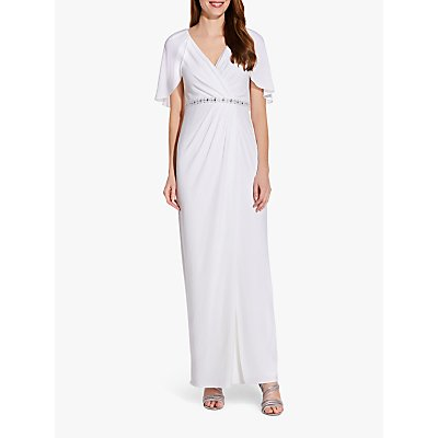 Adrianna Papell Embellished Drape Jersey Maxi Dress, Ivory