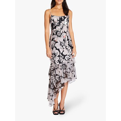 Adrianna Papell Bias Cut Floral Dress, Blush/Black