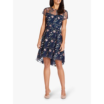 Adrianna Papell Floral Embroidered Flared Dress, Navy