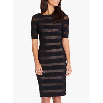 Adrianna Papell Illusion Sheath Dress, Black/Nude