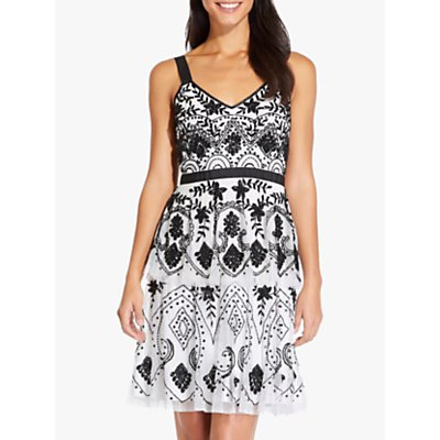 Adrianna Papell Tier Beaded Dress, Ivory/Black