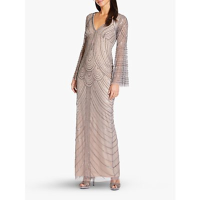 Adrianna Papell Beaded Bell Sleeve Column Dress, Mercury/Nude