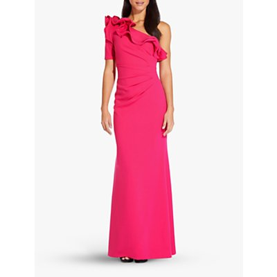 Adrianna Papell Long Draped Crepe Dress, Geranium