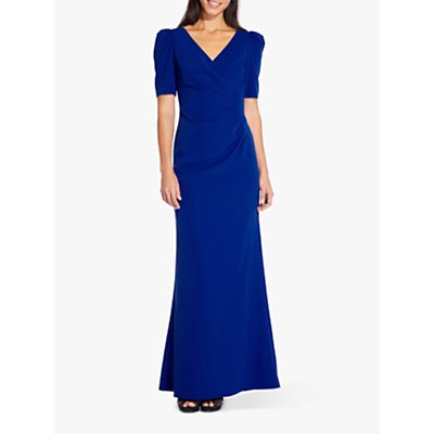 Adrianna Papell Plus Elbow Sleeve Long Gown, Royal Sapphire