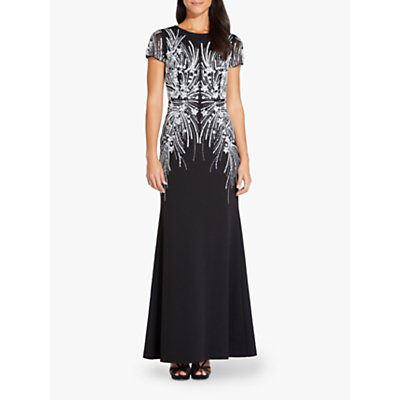 Adrianna Papell Beaded Mermaid Gown, Black/Ivory