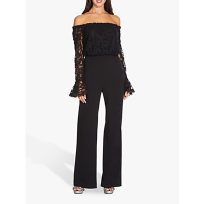 Adrianna Papell Lace Crepe Jumpsuit, Black