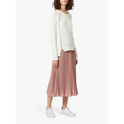 French Connection Crepe Pleated Skirt, Cinder Pink