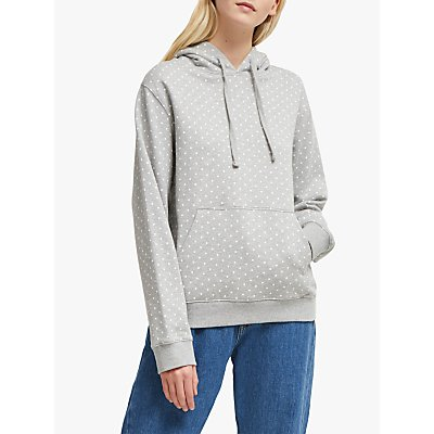 French Connection Dotted Jersey Hoodie, Grey