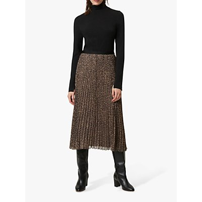 French Connection Brunella Pleated Midi Skirt, Sabbia Multi