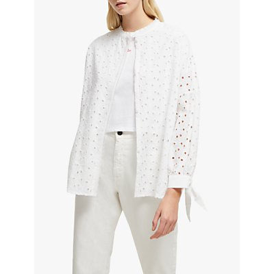 French Connection Bodi Broderie Tie Sleeve Shirt, Linen White