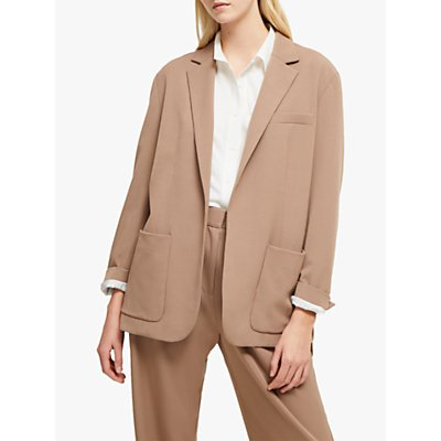 French Connection Amato Suiting Longline Blazer, Mocha Mousse