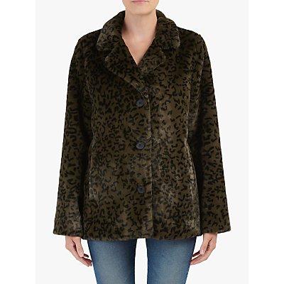 Hartford Vintage Leopard Faux Fur Coat, Khaki/Brown