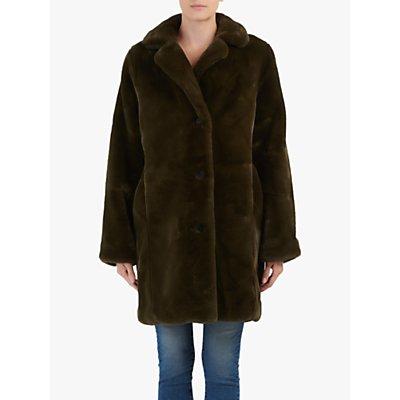 Hartford Vinta Faux Fur Coat, Khaki