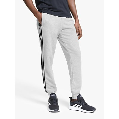 adidas Essentials 3-Stripes Tapered Jogging Bottoms, Medium Grey Heather