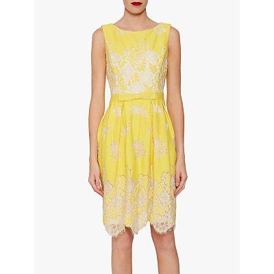 Gina Bacconi Oline Lace Dress, Lemon