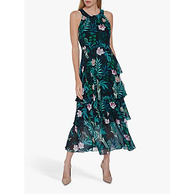 Gina Bacconi Diadama Chiffon Tiered Maxi Dress, Navy