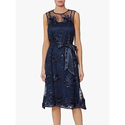 Gina Bacconi Embroidered Dress, Navy