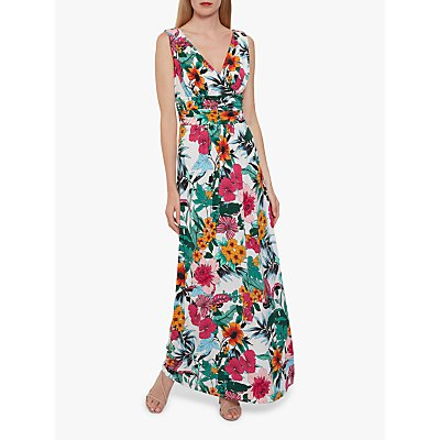 Gina Bacconi Kianne Floral Jersey Maxi Dress, Jade/Multi