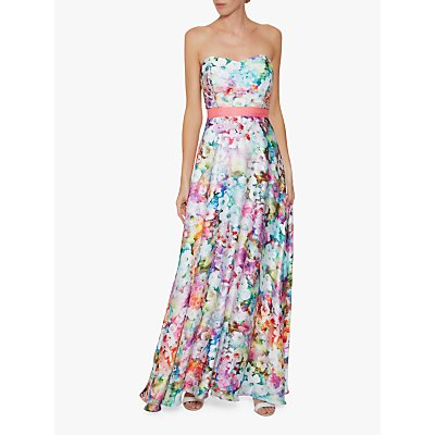 Gina Bacconi Esmira Satin Floral Maxi Dress, Multi
