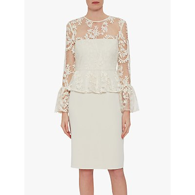 Gina Bacconi Shelly Lace and Crepe Dress, Butter Cream