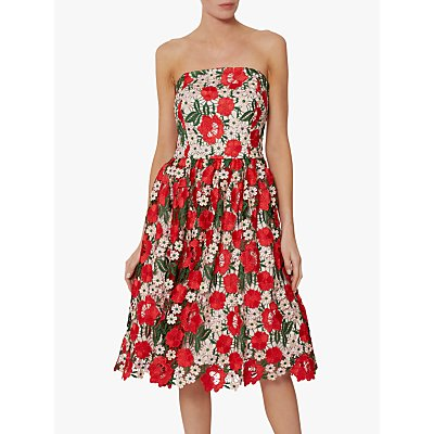 Gina Bacconi Katri Guipure Dress, Red/Multi