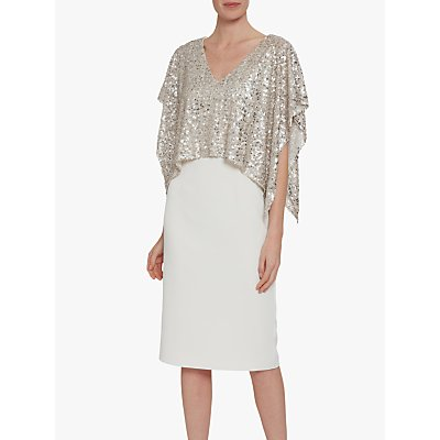 Gina Bacconi Areti Crepe Dress and Sequin Overtop, Oyster