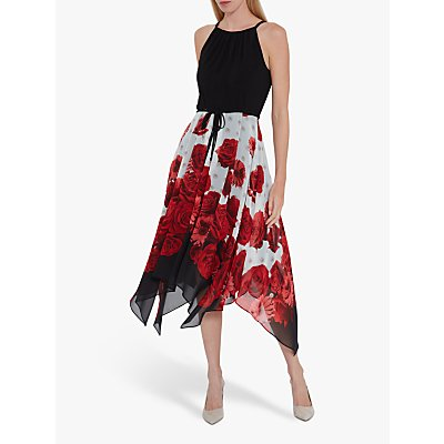 Gina Bacconi Solid Bodice and Printed Skirt Dress, Black/Multi