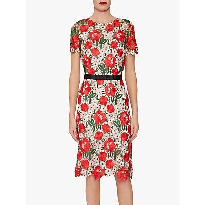 Gina Bacconi Melita Guipure Lace Dress, Red