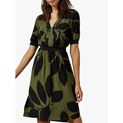 Ted Baker Telavee Floral Dress, Green Khaki