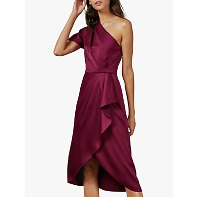 Ted Baker Ridah Asymmetric Ruffle Satin Dress