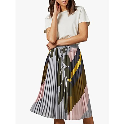 Ted Baker Izabele Pleated Midi Dress, Grey Charcoal