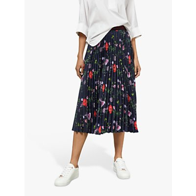 Ted Baker Luish Pleated Floral Midi Skirt, Dark Blue/Multi