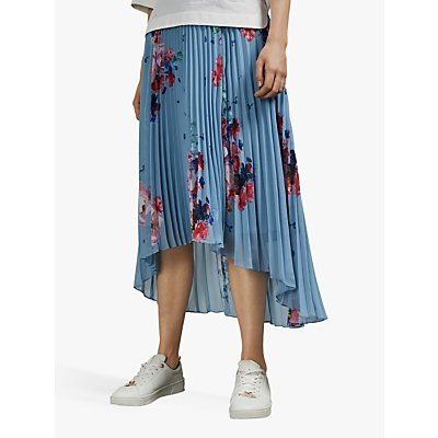 Ted Baker Harrpa Raspberry Ripple Pleated Midi Skirt, Light Blue