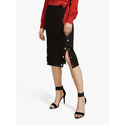 Ted Baker Melora Button Detail Pencil Skirt, Black