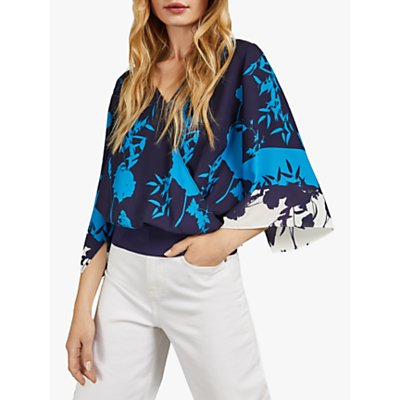 Ted Baker Margiel Kimono Sleeve Wrap Top, Dark Blue