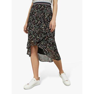 Ted Baker Kassiia Floral Ruffle Hem Skirt, Black
