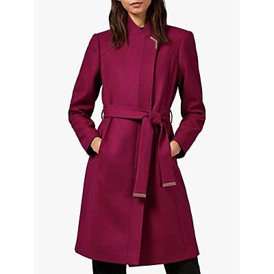 Ted Baker Ellgenc Wool Blend Coat, Pink Dark