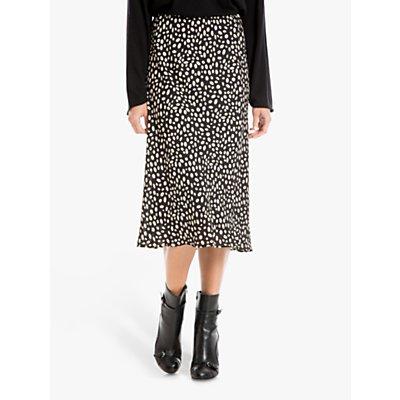 Max Studio Spot Print Skirt, Black/Clay