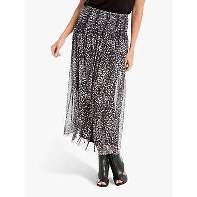 Max Studio Mesh Spot Print Skirt, Black/Ivory