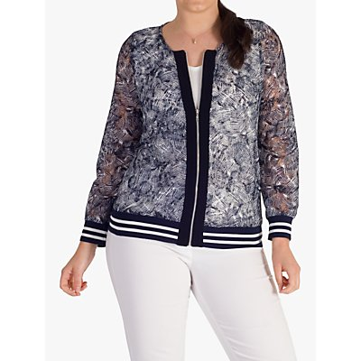 chesca Contrast Lace Zip Top, Navy/Ivory