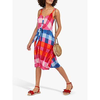 Monsoon Chessie Check Print Jersey Dress, Pink/Multi
